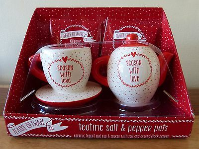 "Teapot/Cup Ceramic Salt & Pepper Pots ""Season With Love"" Kitchenware Xmas Gift"