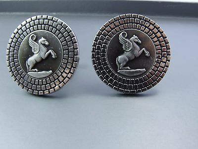 Vintage SWANK Pegasus Winged Horse Large Round Silver tone Cuff links Cufflinks