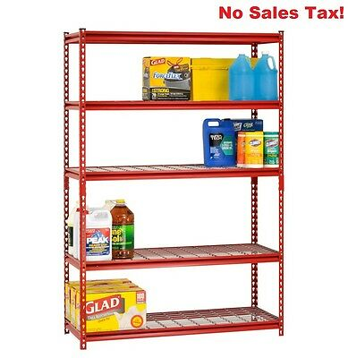 Steel Rack Shelving 5 Shelf Red Storage Tier Garage Metal Adjustable Shelves New