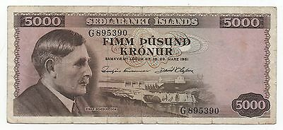 Iceland 5000 Kronur 1961 Pick 47 Rare Sign 40 Look Scans