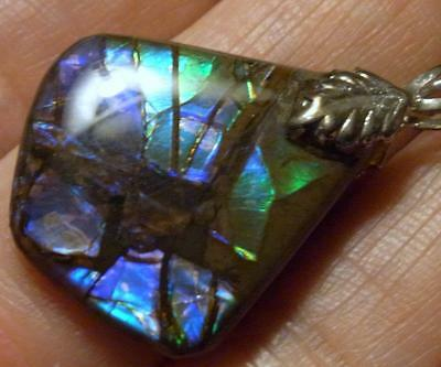 RARE VIOLET AMMOLITE DOUBLET PENDANT FOSSIL AMMONITE   34X23mm