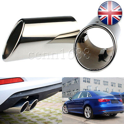 2 x Chrome Rear Exhaust Tailpipe Tail Pipe Trim End Muffler For Audi A3 09-12