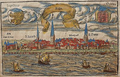 Latvia 1628 Original Map Riga City View Woodcut Sebastian Munster