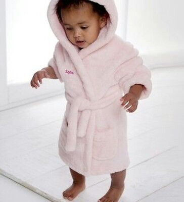 Pink Super Soft Embroidered Personalised Baby Dressing Gown Bath Robe Teddy EARS