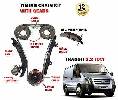 For Ford Transit 2.2 Diesel Tdci 2006--> New Timing Cam Chain Kit + Gears Set