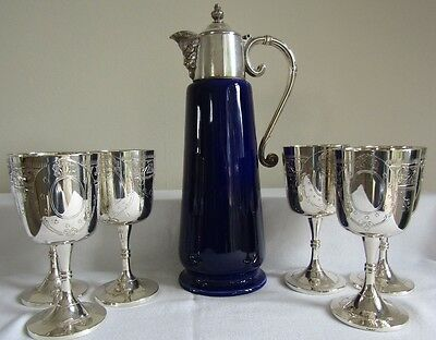 Antique Silver Plate & Porcelain Falstaff Claret Jug  & 6 Ornate Goblets