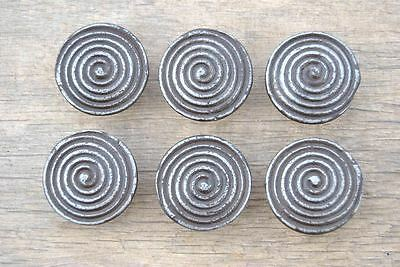 VTG Victorian Spiral Cast Iron cabinet drawer door Knobs handles pull rustic 6pc
