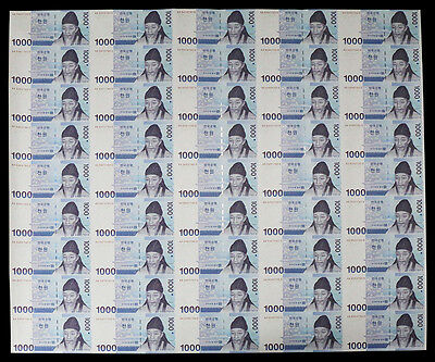 South Korea 1,000 (1000) Won, 2007, P-54, UNC, 45 Pieces (PCS), Uncut Sheet