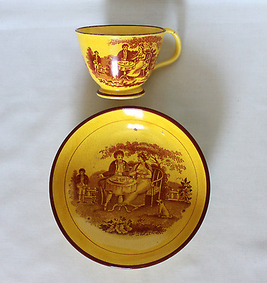 Antique Canary Ware - Cup & Saucer
