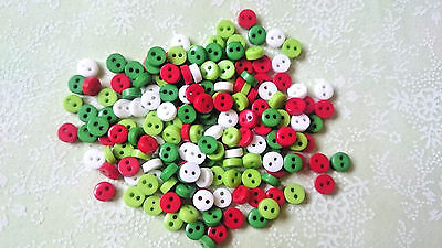 25, 50 Tiny Baby Mini 6mm Buttons, Mixed Christmas Colour, Doll Craft Sewing