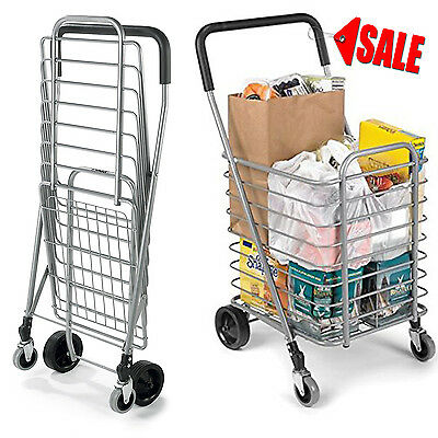 Market Rolling Shopping Trolley Cart Folding Portable Storage Aluminum Light New