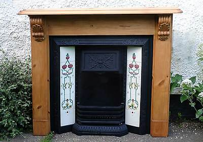 Cast Iron Fireplace with Pine Surround Fire Tiled Victorian Style