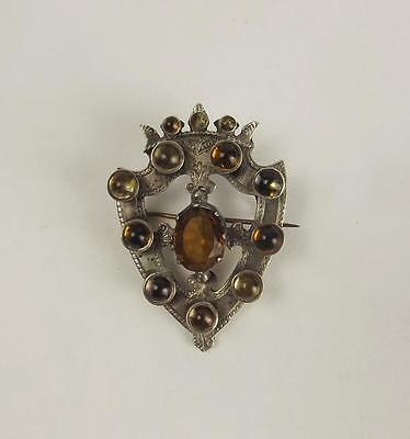 Scottish Silver & Citrine Brooch c1866