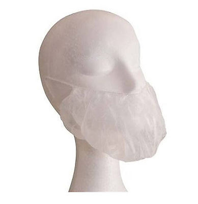 New 500 x White Disposable Beard Nets for Restaurant / Food Manufacturing