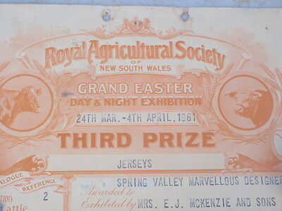 NSW Ag. Society  Prize Card 1961