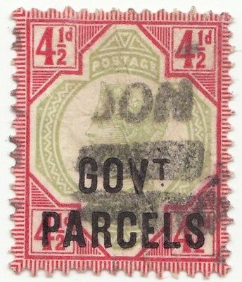 GB QV 1892 4 & 1/2d GOVT PARCELS O71 GREEN & CARMINE  FINE USED HING RMS-01-131
