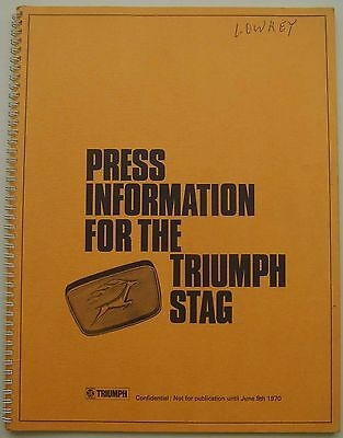 Triumph Stag 1970 Original UK Launch spiral Press Kit & Photograph Order Form