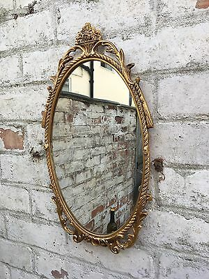 Vintage French Style Rococo Brass Frames Gold Wall Mirror, Ornate Elaborate