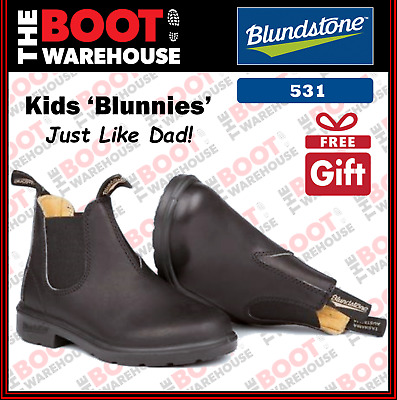 Blundstone 531 'CHILDREN'S  BLUNNIES', Black. Elastic Sided. Just Like Dad!
