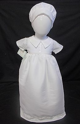Christening gown dress hat baby girl boy WHITE unisex 0-6 months BNWTS