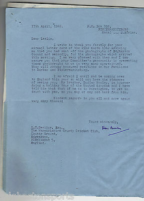 Original HSL from RE Foster Bowley President South African CA - Warwickshire1962