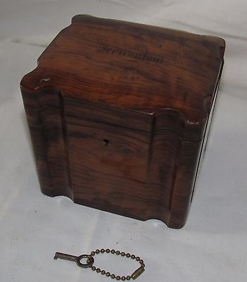 Nice Victorian Olivewood Tea Box/Caddy. Wonderful Colour! From Jerusalem