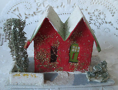 Vtg Red Christmas Cardboard House and Yard Light From Back  Made In Japan 1950s