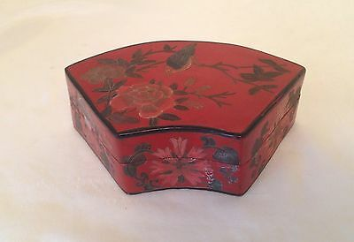 Oriental Vintage Japanese Red Lacquer  Box