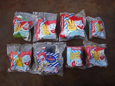Lot of (8) McDonald's Kids Meal Fisher Price Toys- All Sealed/All Different