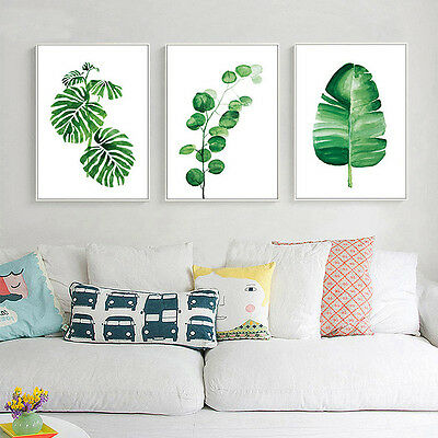Nordic Decoration Watercolor Plant Leaves Poster Prints Canvas Wall Art Painting