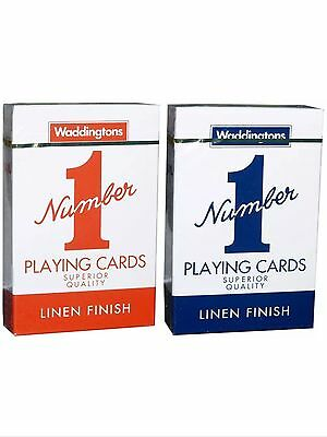 2* Waddington No.1 Playing Cards Quality RED & BLUE Classic Linen Finish Pack