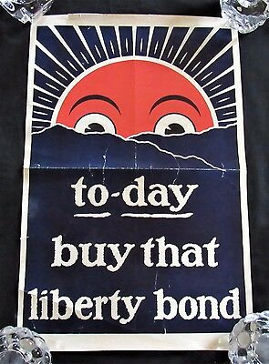 Original 1917 WW1 Poster From U.S. 'To-day Buy That Liberty Bond'. Stunning!