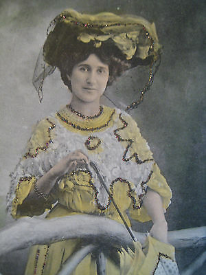 5 ANTIQUE POSTCARDS  EDWARDIAN  ACTRESSES HAND TINTED GLITTER HIGHLIGHTS  c1910