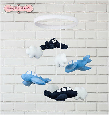 Handmade Felt Baby Nursery Mobile with Blue Airplanes and Clouds