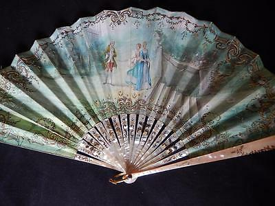 ANTIQUE MOTHER of PEARL FAN PAINTED FIGURES SEQUIN EVENTAIL DUVELLEROY BOX c1870