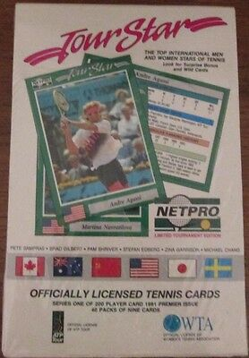 360 MINT ROOKIE CARDS - 1991 1st Issue TENNIS CARDS - Sealed Display 40 Pack X 9