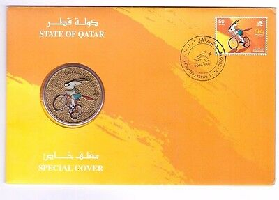 Qatar 2006 Special Cover Doha Asian Games Postage Stamp Orange Orry Coin Fdc Gcc