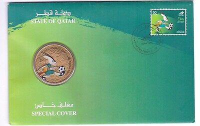 Qatar 2006 Special Cover Doha Asian Games Postage Stamp Green Orry Coin Fdc Gcc