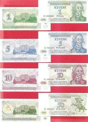 TRANSNISTRIA - 1 5 10 50 ruble - 1990s Set of 4 Uncirculated