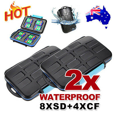 2x Waterproof Anti-shock Memory Card Hard Case Holder for 8 x SD Cards