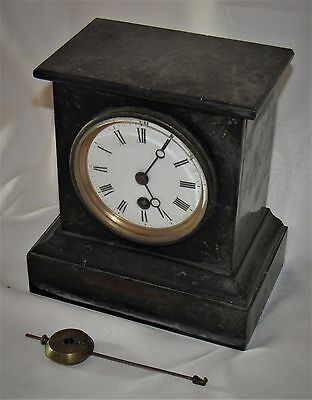 French Small Sized Antique Mantle Clock With Black Marble Case