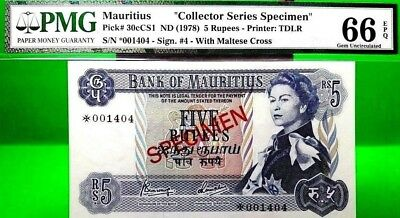 MONEY MAURITIUS 5 RUPEES ND 1978 SPECIMEN PMG GEM UNC PICK #30cCS1 VALUE $640