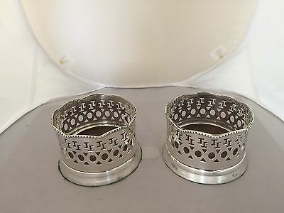 Lovely Pair Of Pierced Silver Plated Wine, Bottle Coasters With Wooden Bases