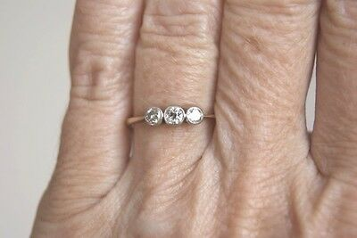 Fine Vintage Art Deco 18 Ct& Plat Three Stone Old Cut Diamond Trilogy Ring L
