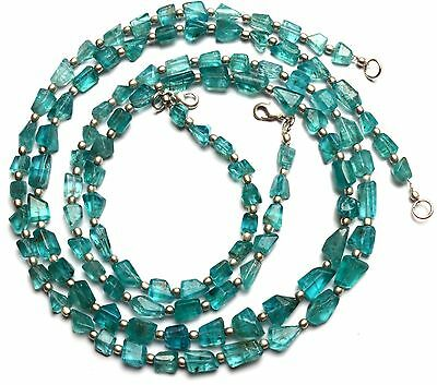Natural Gem Super Quality Green Apatite Faceted Nugget Beads Necklace 20""