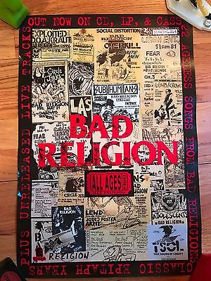 BAD RELIGION PUNK SBD POSTER SCREAM EPITAPH 13 x19 original promo 2 Sided RARE