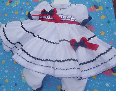 Dream Romany Spanish Nautical Dress Bloomers 0-3 3-6 6-12 12-18 18-24 Months