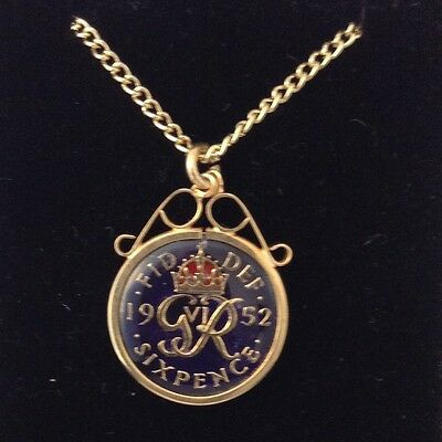 1952 George VI Enamelled Sixpence Coin Pendant. Blue/gold/red. 65th Birthday
