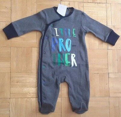 BNWT Baby Boys GREY Brother Sleepsuits 0-3,3-6,9-12 months NEXT