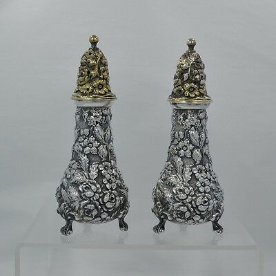"Stieff Rose Sterling Silver Repousse 4 3/8"" Tall Salt & Pepper Shakers - 1940"